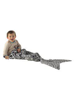 I-Baby Mermaid Tail Knit Crochet Blanket For Toddler Kid And Adult - Black & White