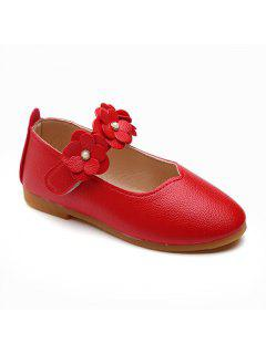 Girls Flowers Princess Shoes Single Shoes Leather Shoes - Bright Red 21