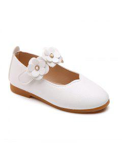 Girls Flowers Princess Shoes Single Shoes Leather Shoes - White 23