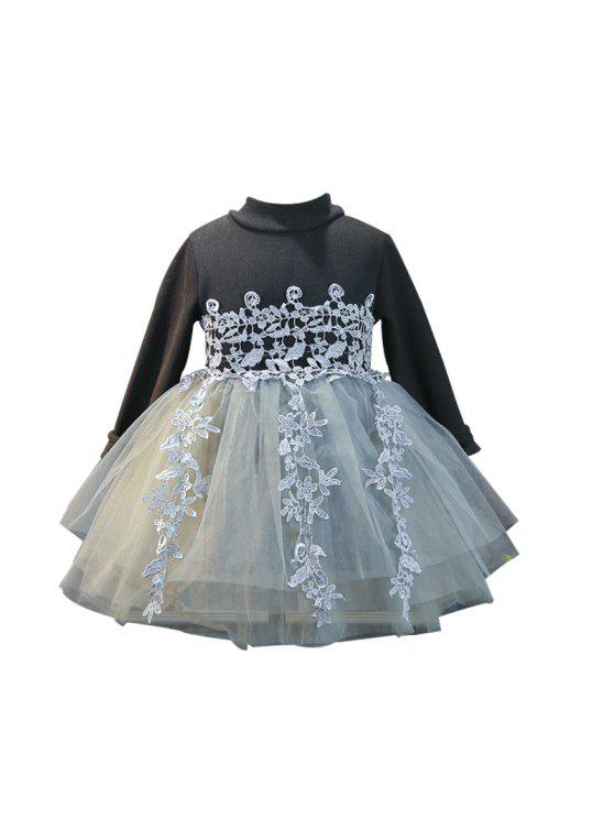 shops Girls Autumn And Winter Dresses Long Sleeves 2017 Korean Version Plush Cotton Baby Princess Skirt Floss - BLACK 100