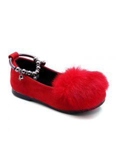 Spring New Fashionable All-Match Rabbit Leather Shoes Shoes Female Princess Doug Shoes Children Shoes Baby - Red 26