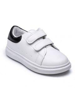 Big Kids Sports Shoes Children'S Shoes In White Shoe Velcro Shoes Breathable Boy - Black 26