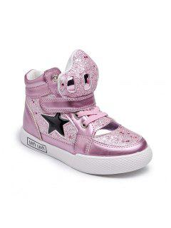 The New Girls Help Children Fashion Shoes Gold Star In Sports Shoes Girl Students - Pink 26