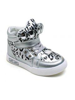The Child In The Boys And Girls In Fashion Sexy Leopard Boots Leather Strap Flat Casual Shoes - Silver 26