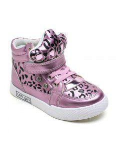 The Child In The Boys And Girls In Fashion Sexy Leopard Boots Leather Strap Flat Casual Shoes - Pink 26