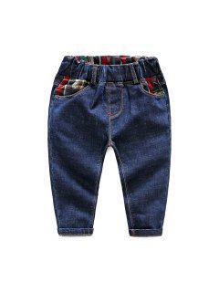 Edición De Otoño Niños Jean 3-8 Años De Edad Pantalones Delgados De Algodón Suelto De Los Muchachos - Azul Marino  100