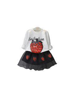 2pcs Niños Niñas Falda De Manga Larga Camiseta - Nieve Blanca 100