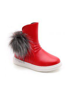Cute Hair Ball Girls Fashion Flat Boots Snow Boots Boots - Red 26