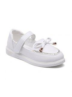Girls Leather Shoes Bow Tie Princess Shoes Students Leather Shoes Shoes, Dancing Shoes - White 30