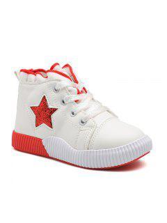 Princess Shoes Soft Soles School Shoes Lace UPS White Shoes Casual Shoes - White 29