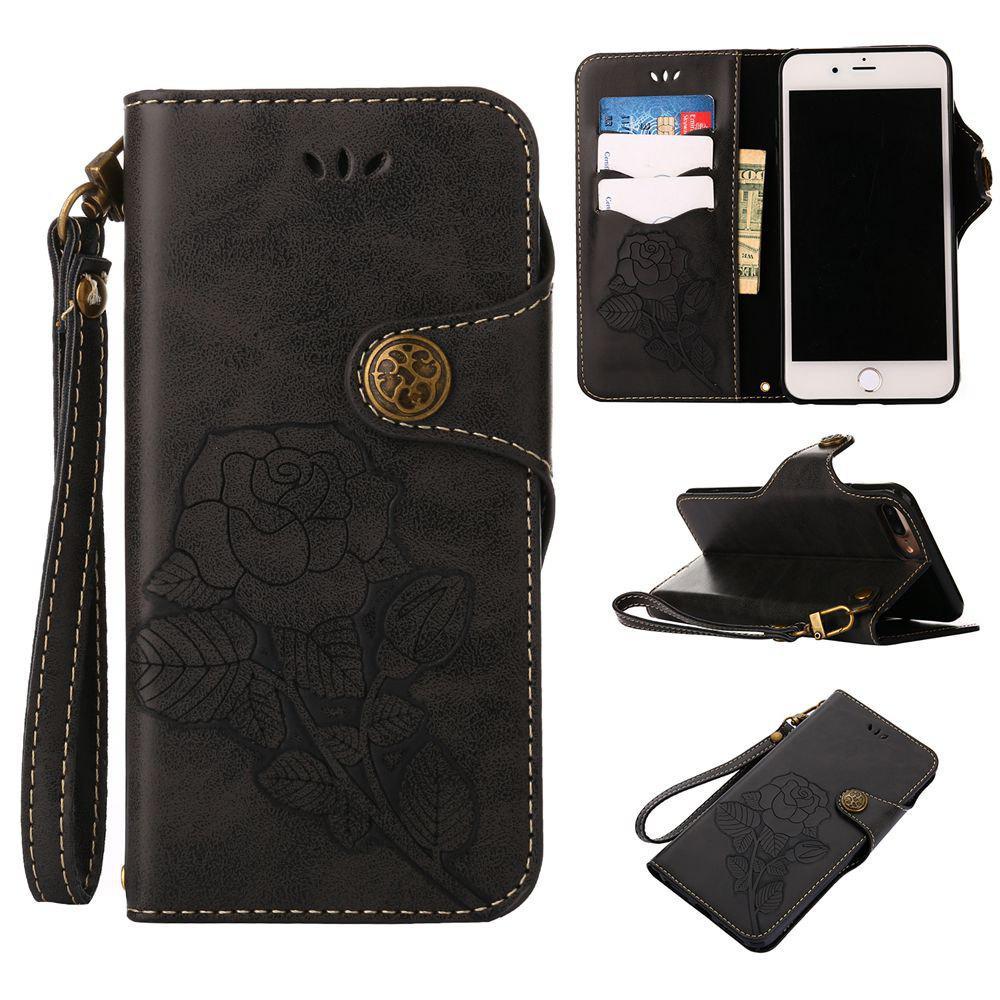Rétro Rose PU Phone Case pour Iphone 8/7