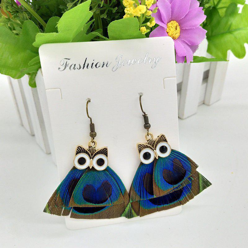 Peacock Feather Earrings Owl Pendant Elves Ear Jewelry