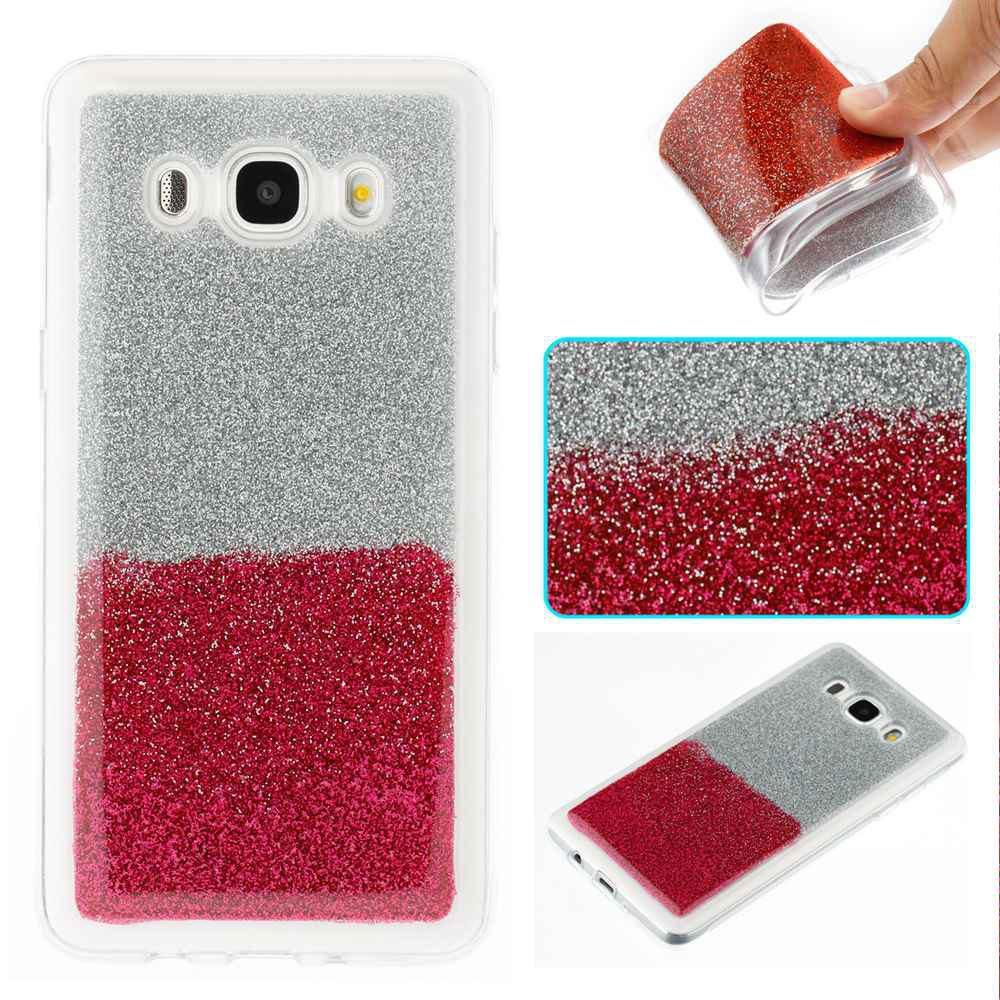 Cas de téléphone peint en deux couleurs TPU de poudre de flash pour Samsung Galaxy J5 2016