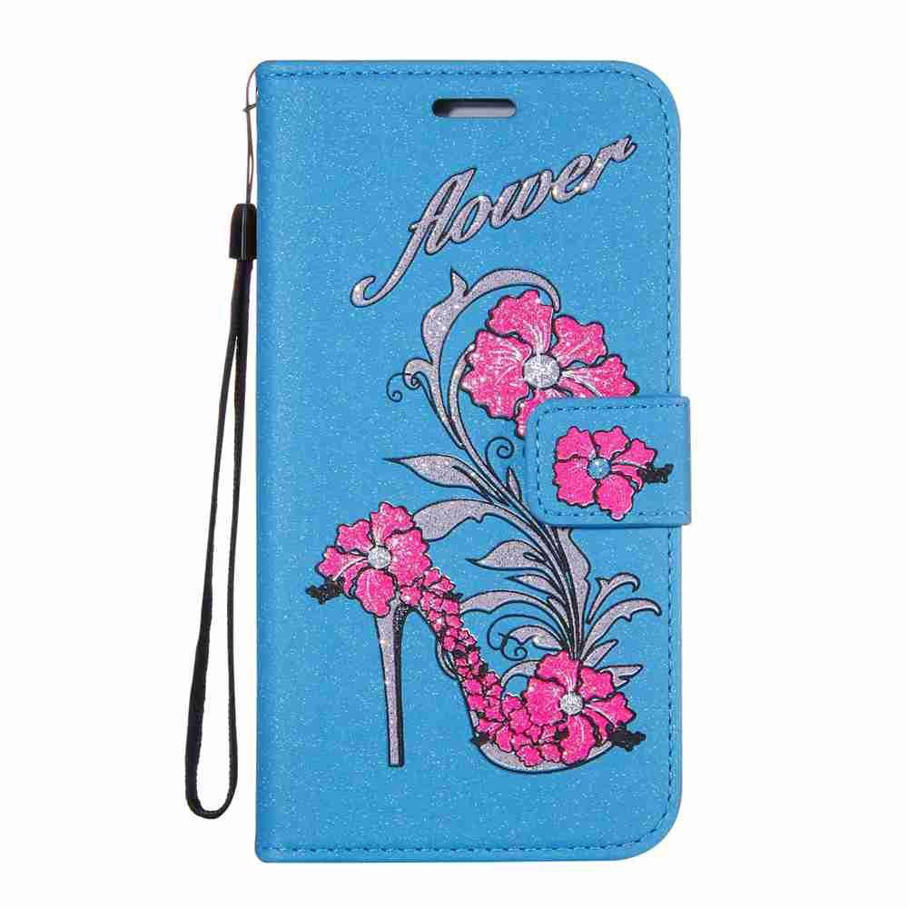 Flash Powder Dyed Silk Printed Rattan High Heels Pu Phone Case for Samsung Galaxy J7 2016 232757001