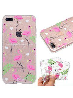 Glitter Shine Process Flamingo Pattern TPU Soft Case Cover For IPhone 7 Plus / 8 Plus