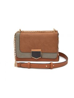 Ladies Autumn Winter Small Square One Shoulder Messenger Chain Bag - Brown