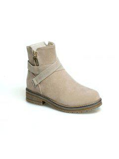 New Simple Lady  Low And Comfortable Ankle Boots - Beige 34