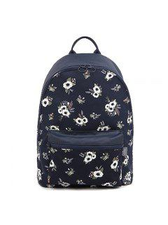 Women's Backpack Fashionable Pastoral Floral Pattern Casual Large Capacity Bag Handbag - Deep Blue