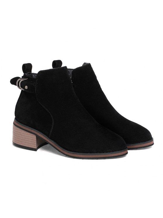 size 40 112aa 3ede3 Damenschuhe Kunstleder Wintermode Bootie Blockabsatz runde Zehe  Stiefeletten Reißverschluss BROWN GRAY BLACK