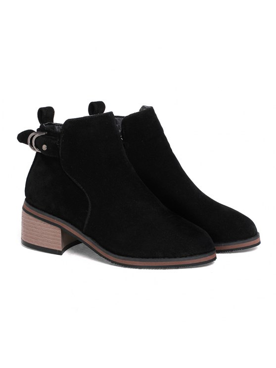 b49441e7eaf Women's Shoes Leatherette Winter Fashion Bootie Chunky Heel Round Toe Ankle  Boots Zipper BLACK BROWN GRAY