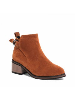 Women's Shoes Leatherette Winter Fashion Bootie Chunky Heel Round Toe Ankle Boots Zipper - Brown 34