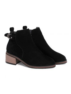Women's Shoes Leatherette Winter Fashion Bootie Chunky Heel Round Toe Ankle Boots Zipper - Black 34