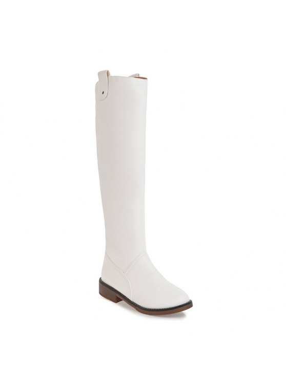 0ef1bd5984c Winter Riding Fashion Slouch Low Heel Round Toe Knee High Boots - White 38