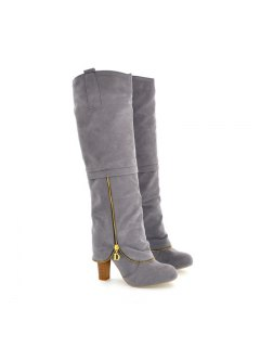 Elegant Women's Shoes Faux Suede Round Toe Chunky Heel Knee High Boots Winter Dress Black Grey Red - Gray 42