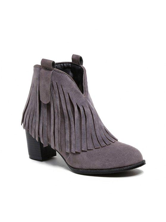 Black Con Redonda Vestir Gray Zapatos Punta Invierno Brown Mujer Sintética Claro Botines De Borla Moda Marrón Chunky Casual Piel CroxBWde