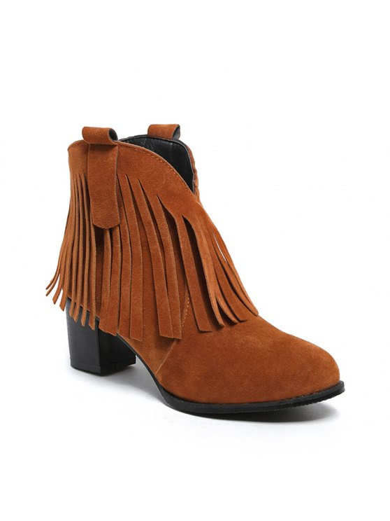 269e1d5f3d Sapatos femininos Sapatos de couro de inverno Bootie Chunky Heel Round Toe  Ankle Boots Tassel Casual