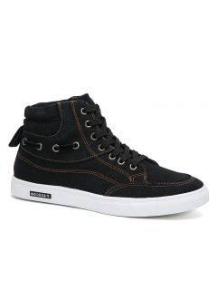 Men's Casual Canvas High Tops Lace Up Fashion Sneakers - Black 44