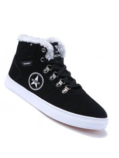 Men Casual Fashion Canvas Warm Winter Suede Ankle Boots Size 39-44 - Black 40