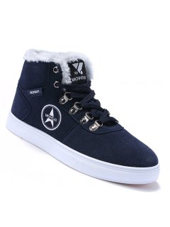 Men Casual Fashion Canvas Warm Winter Suede Ankle Boots Size 39-44 - Bluebell 40