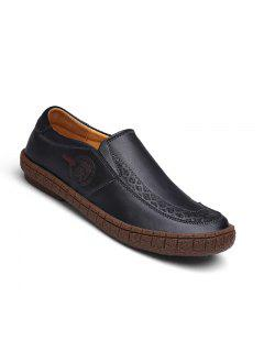 Men Fashion Casual Genuine Leather Moccasins Loafers Slip On Male Flats Shoes - Black 40