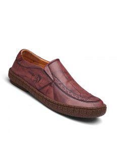 Men Fashion Casual Genuine Leather Moccasins Loafers Slip On Male Flats Shoes - Wine Red 40