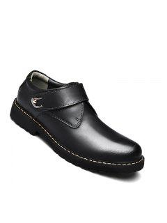 Business Men Shoes Genuine Leather Loafers High Quality Soft Casual Breathable Flats - Black 38