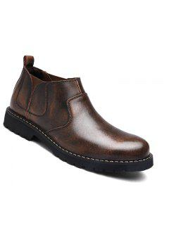 Fashion Oxford Business Men Shoes Wam Genuine Leather High Top Boots - Deep Brown 38
