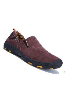 Men Loafers Slip On Male Flats Shoes Hiking Mountain Camping Climbing - Wine Red 38