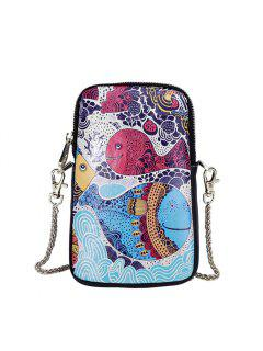 3 - B052 Fashion Trend Big Fish Pattern Painted Leather Mobile Phone Bag