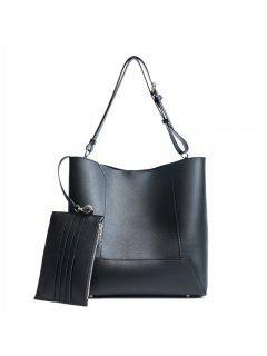 2PCS Sub-package Large Capacity Portable Shoulder Messenger Bag - Black