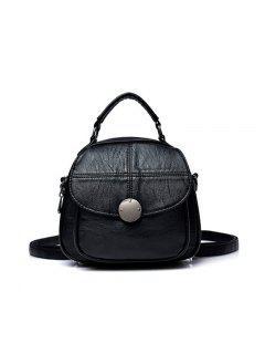 PU Leather Handbags Portable Shoulder Bag - Black