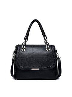 PU Leather Handbags Fashion Oblique Cross Package Luxury Designer Shoulder Bag - Black