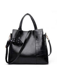Ladies PU Leather Tassel Cross-body Shoulder Messenger Bag - Black