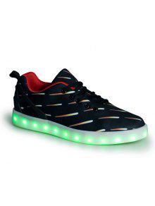 Zapatos De Tablero Fluorescente LED Para Hombre - Negro 40
