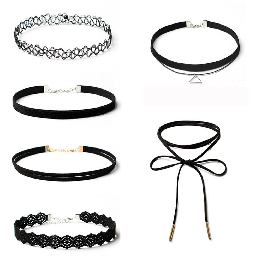 6pcs Women's Jewelry Vintage All Matched Velvet Choker Jewelry