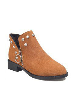 New Korean Motorcycle Shoes Martin Boots Female Short Wedgie Tide - Brown 36