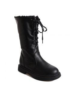 ZLL-A-035 Round Tie All-Match Fashion Warm Martin Boots - Black 36