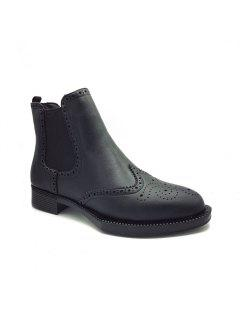 Autumn And Winter New European And American Rough With Carved Boots - Black 36