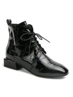 Europa Y Estados Unidos Otoño E Invierno Nuevas Botas De Charol Martin Boots - Negro 36