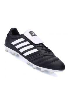 Athletic Football Men Soccer Running Lace Up Sport Outdoor Walking Athletic Shoes 39-44 - Black White 40